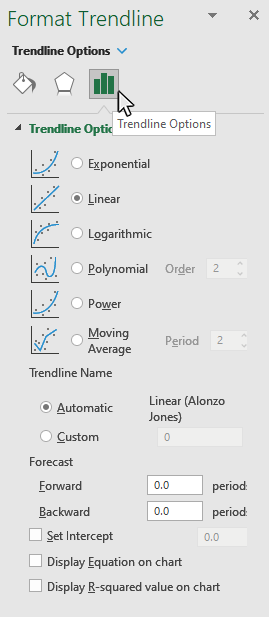 Step 6: Format your Trendline Options