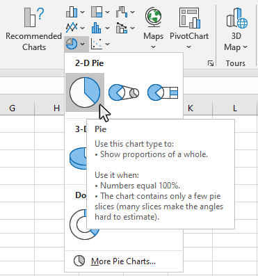 Step 3: Click the Pie button from the Chart type window