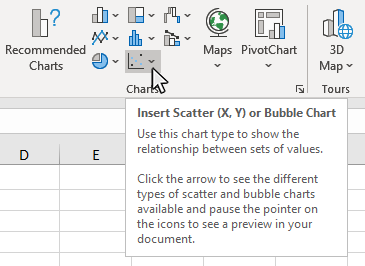 Step 2: Click on the Insert Scatter (X,Y) or Bubble Chart button