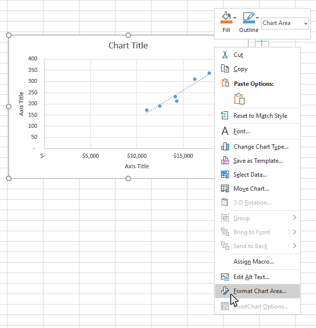 Step 2: Select the Format Chart Area option
