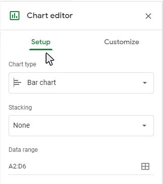 Step 2: Click on the Setup tab on the Chart Editor panel