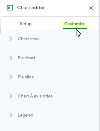 Step 2: Click on the Customization tab on the Chart Editor panel